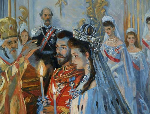 Wedding of Nicholas II and Alexandra Feodorovna by Laurits Tuxen (1895, Hermitage) crop 01.jpg