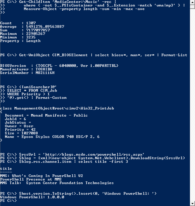 Screenshot of a Windows Powershell from WikiPedia