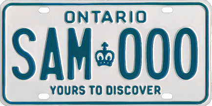 An Ontario licence plate with the slogan Yours to Discover, at the bottom of the plate 1983 Ontario license plate SAM000 sample.jpg