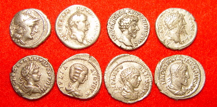 The Roman denarius was debased over time. 8denarii.jpg