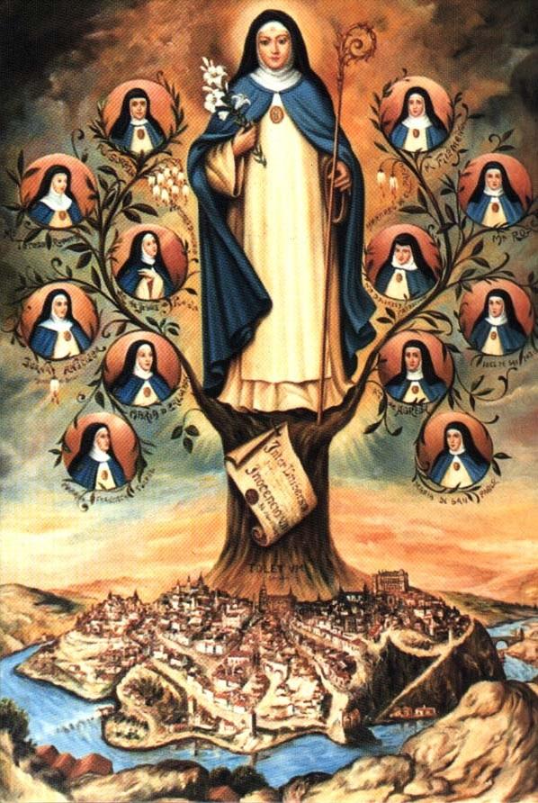 Genealogisk tre for konsepsjonistordenen med betydelige nonner fra ordenen, fra ± ca 1900