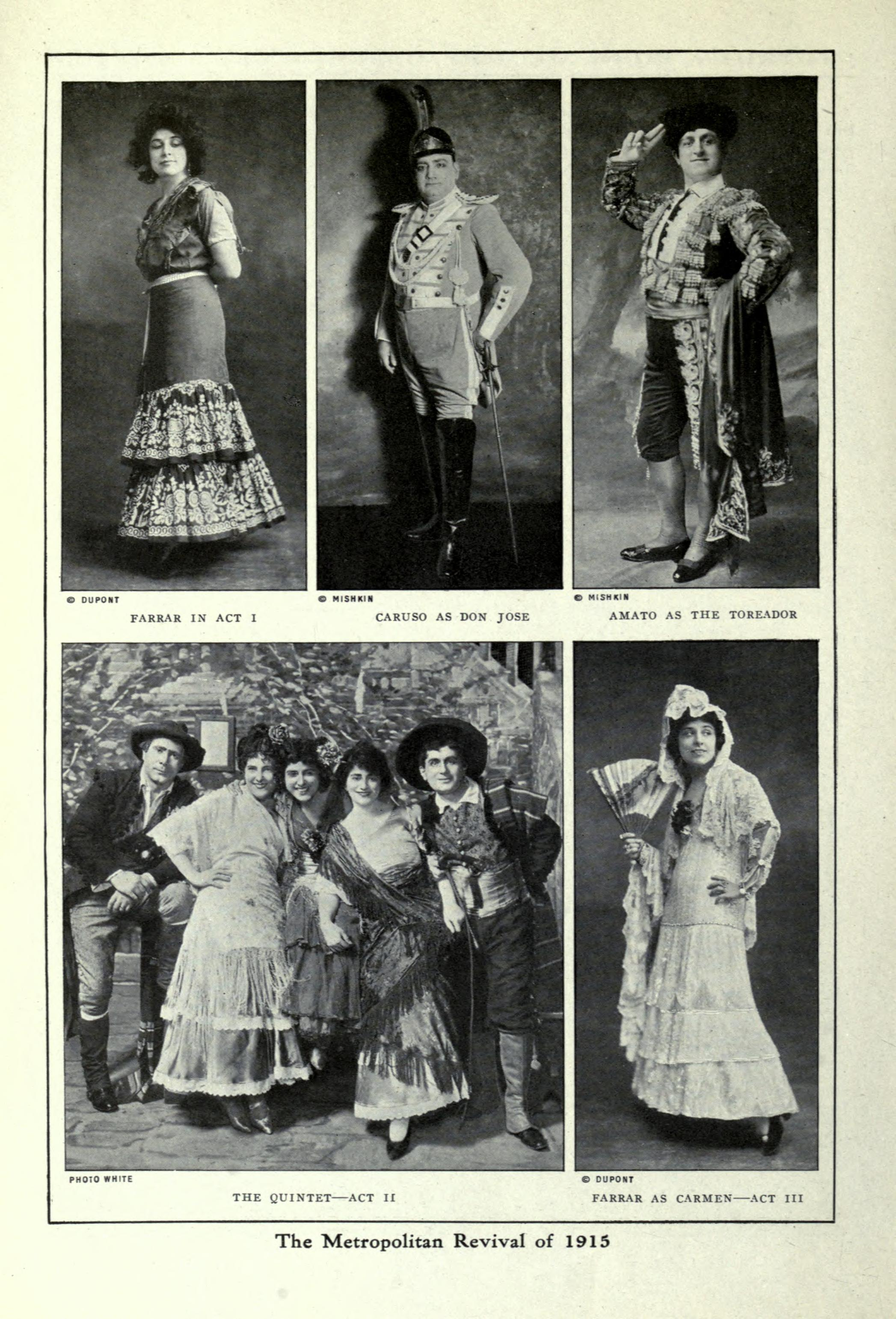 Carmen at the New York Met in 1915; a publicity photograph that shows the three principal stars: Geraldine Farrar, Enrico Caruso and Pasquale Amato
