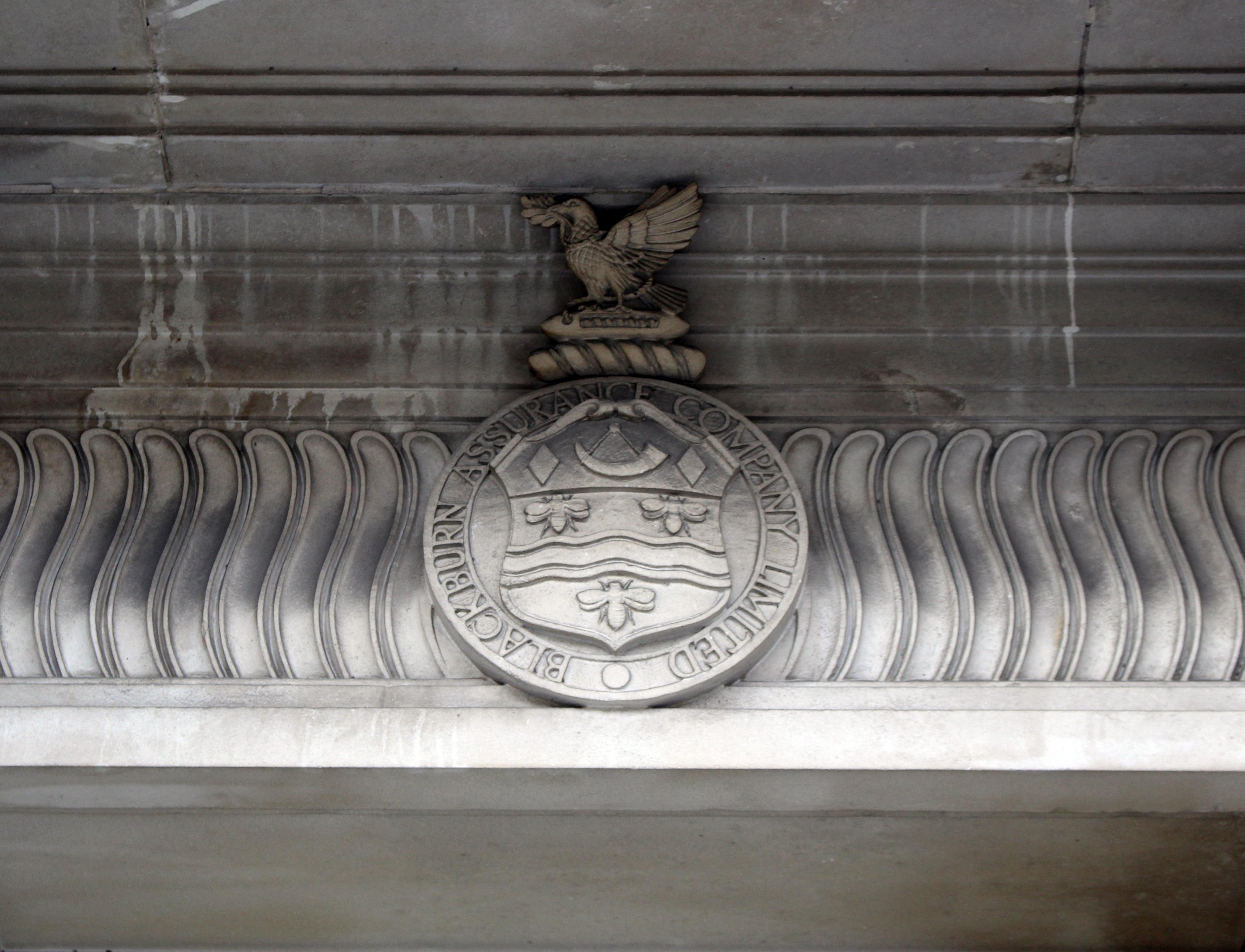 File:Crest over entrance of Blackburn Assurance Chambers jpg