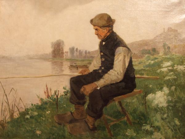 Edmond Charles Yon Pêcheur au bord d'une rivière