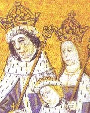 Elizabeth as queen, with Edward and their oldest son. From Dictes and Sayings of the Philosophers , Lambeth Palace. EdwardIV.JPG