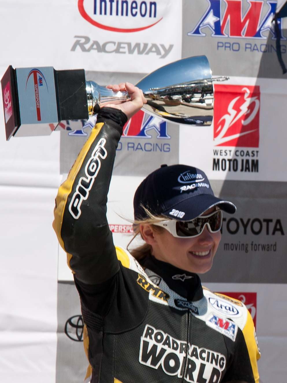 Elena Myers AMA Supersport race winner