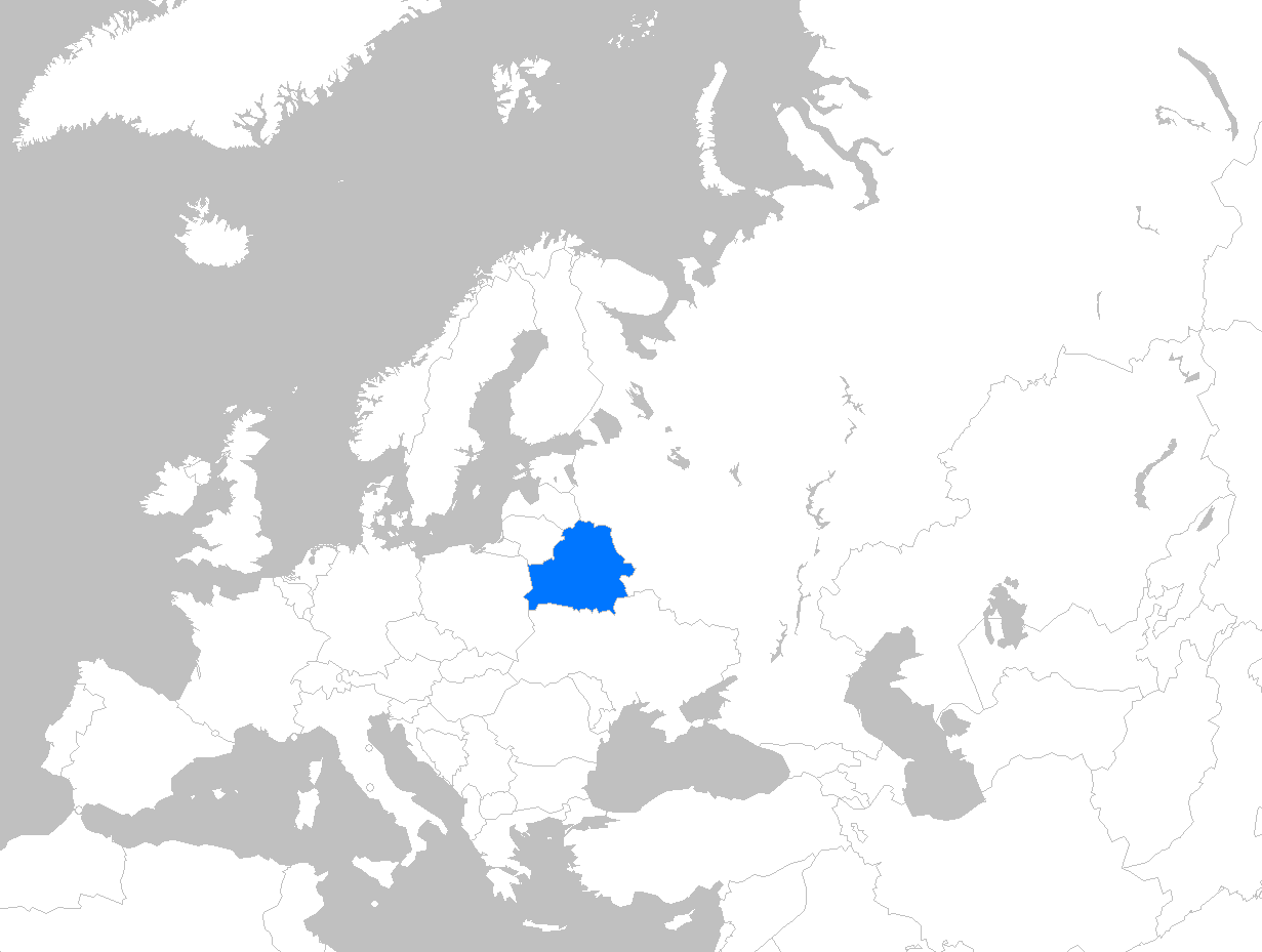 Europe map belarus thefreebiedepot map showing location of belarus in europe cultures belarus updated sciox Images