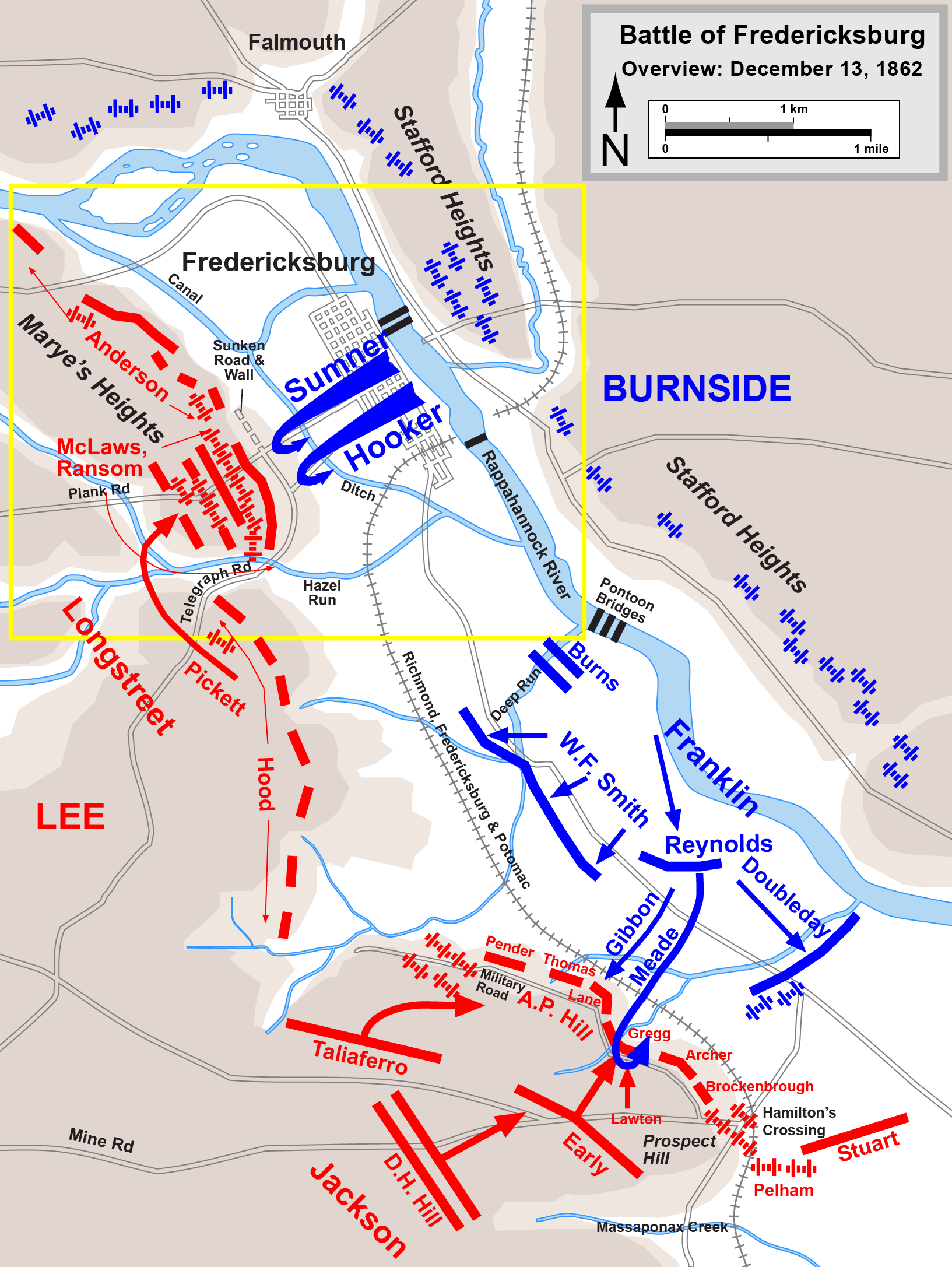 Battle of FredericksburgBattle Of Antietam Simple Map