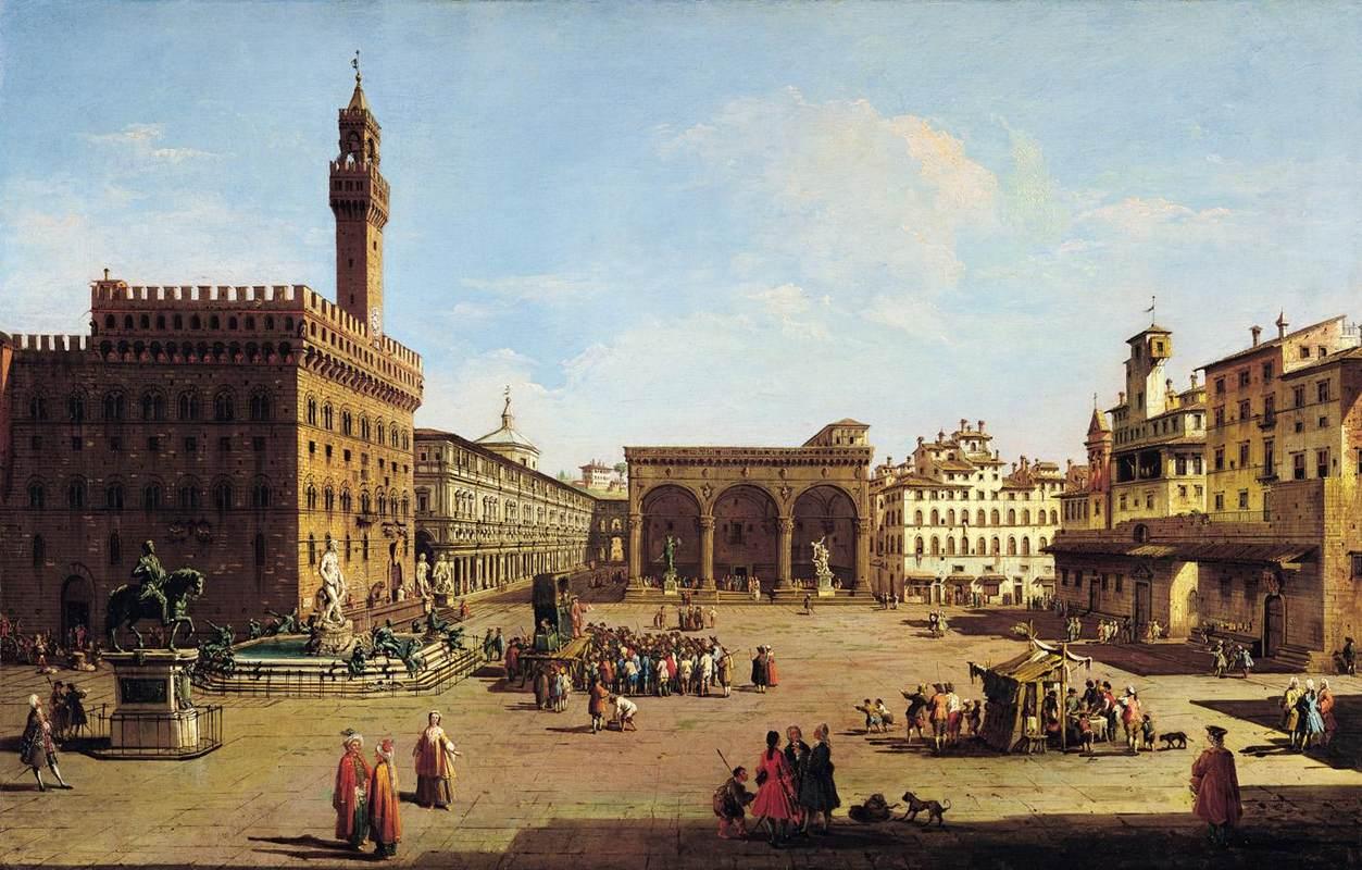 Giuseppe Zocchi - La Piazza della Signoria a Firenze, prima metà del XVIII sec.collezione privata