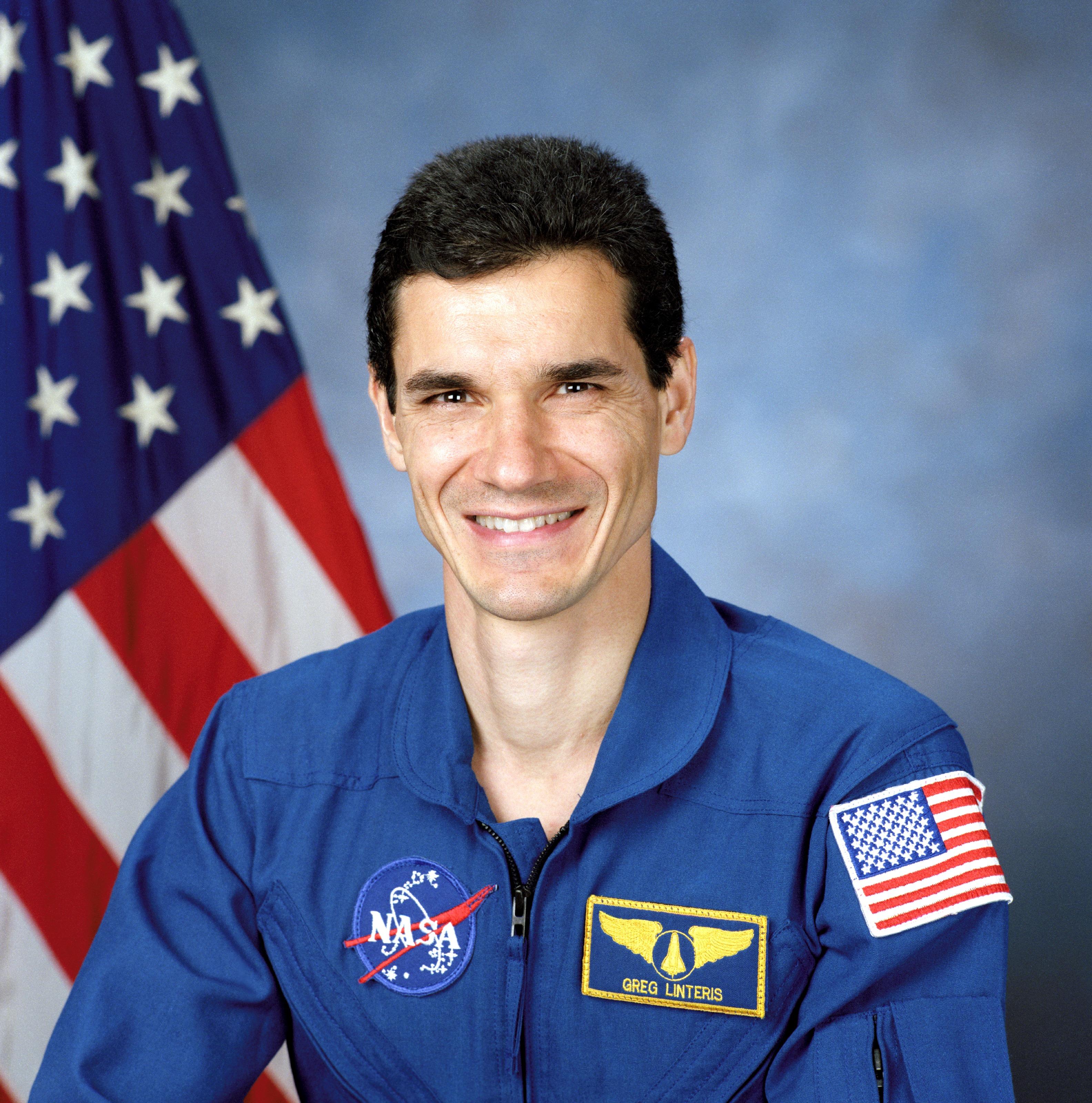 Astronaut Gregory T. Linteris, STS-94 payload specialist, NASA photo (12 July 1996)Source: Wikipedia (spaceflight.nasa.gov killed 25 Feb 2021) Gregory_Linteris.jpg