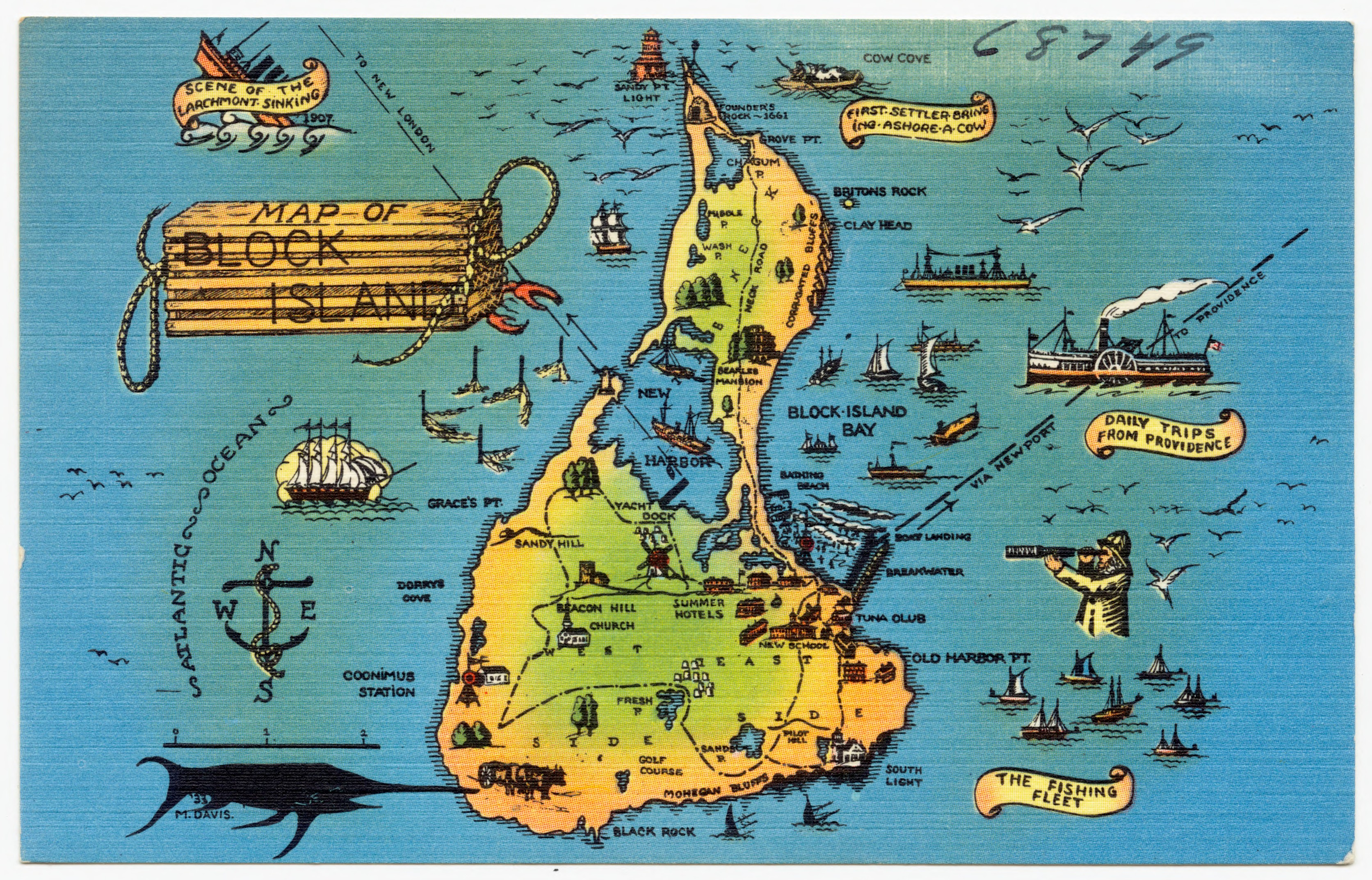 File map of block island scene of the larchmont sinking for Block island fishing charters