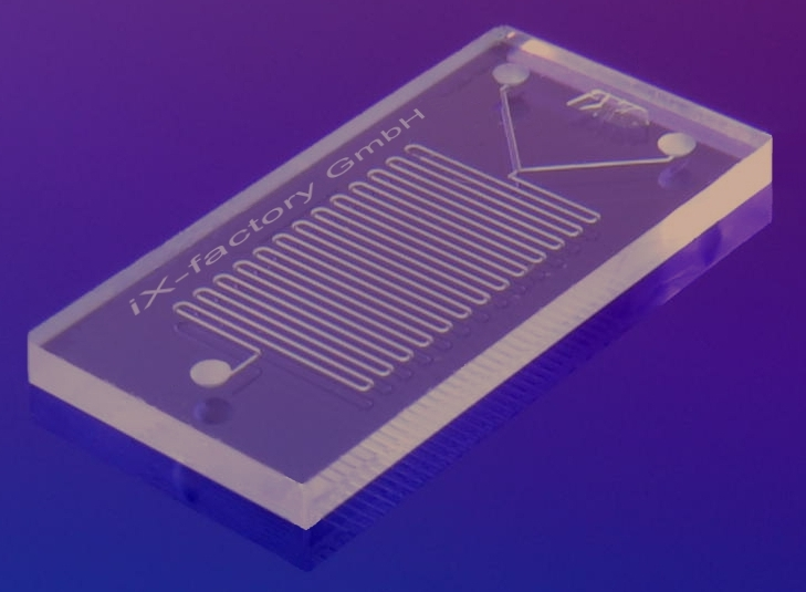 A microfluidic device made from PDMS; image from Wikimedia/IX-factory STK.