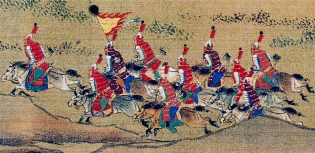 Ming cavalry shown in a scroll painting