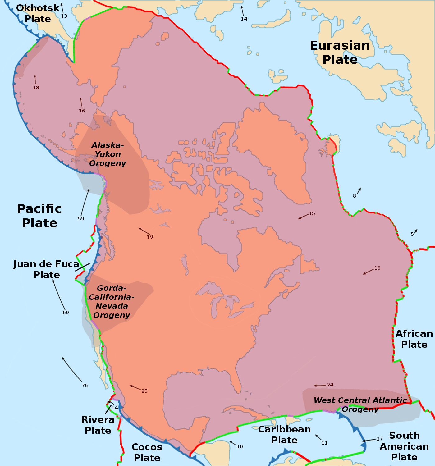 Us Tectonic Plates Map North American Plate   Wikipedia