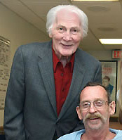 Jack Palance (left) visiting a VA Hospital in 2005