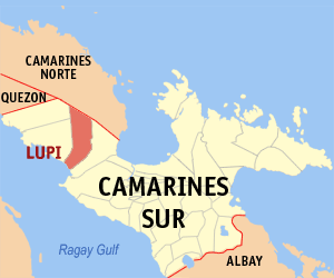 Map of Camarines Sur showing the location of Lupi