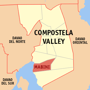 Map of Compostela Valley showing the location of Mabini