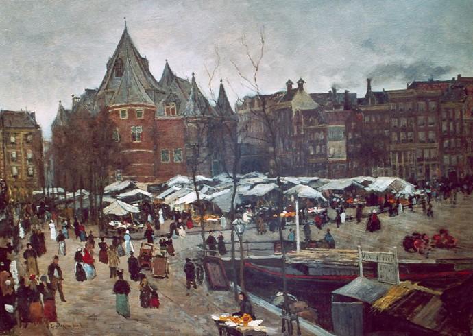 Den Waag, un jour de marché au 19e siècle, peinture de Poggenbeek
