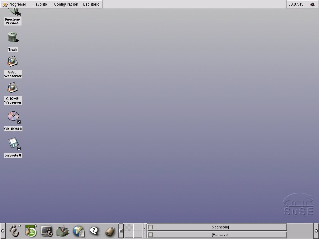 SUSE 7.1 Gnome desktop. This is Gnome 1.0 from 1999. Quite dated now.