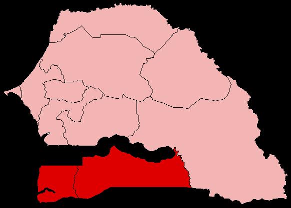 Mappa del Senegal, con il Casamance