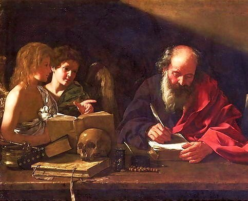 St. Jerome, who lived as a hermit near Bethlehem, depicted in his study being visited by two angels (Cavarozzi, early 17th century) St.-Jerome-In-His-Study.jpg