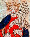 Manuscript illustration of a crowned man holding a bird.