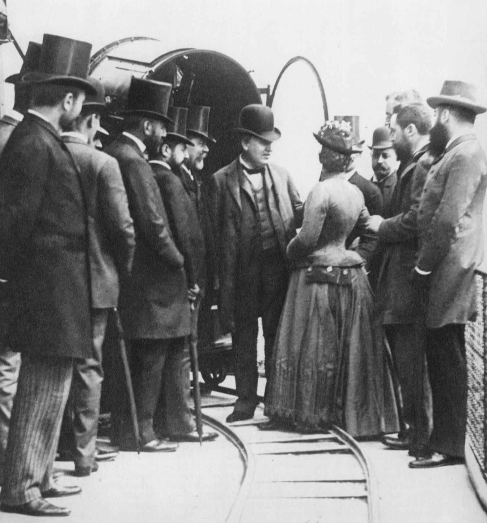 T.A. Edison and entourage at the Eiffel tower, 1889.jpg