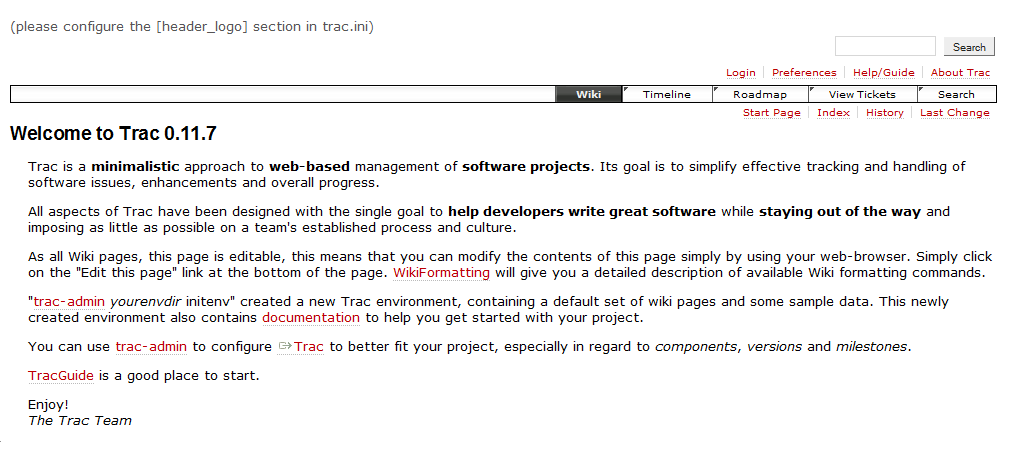 Screenshot of Trac, version 0.11.7, with the default vanilla configuration