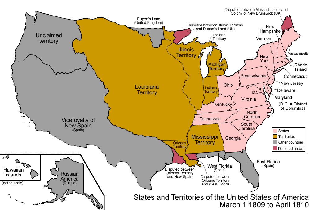 Us Territorial Map 1810 File:United States 1809 1810 04.png   Wikimedia Commons