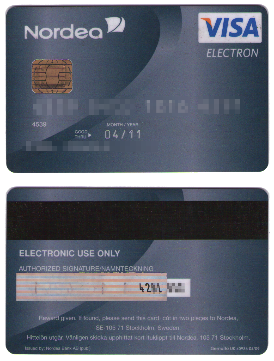 visa electron security code