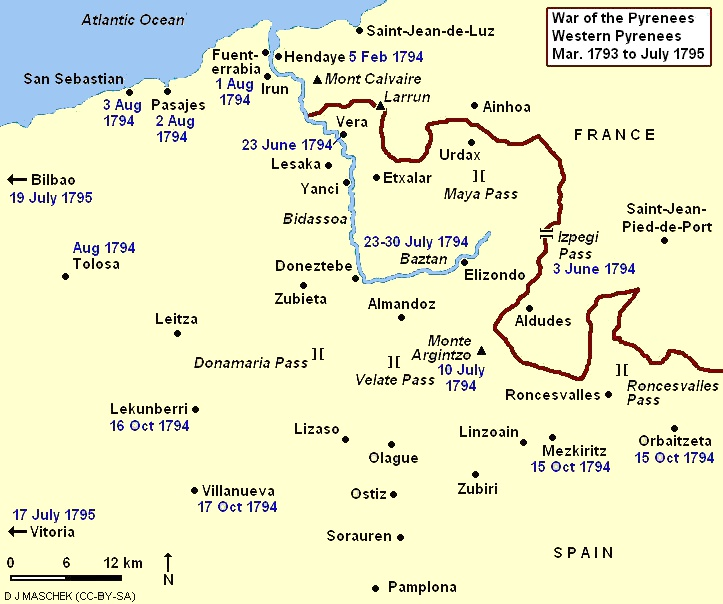War of the Pyrenees, Western Theater Western Pyrenees 1793 to 1795.JPG
