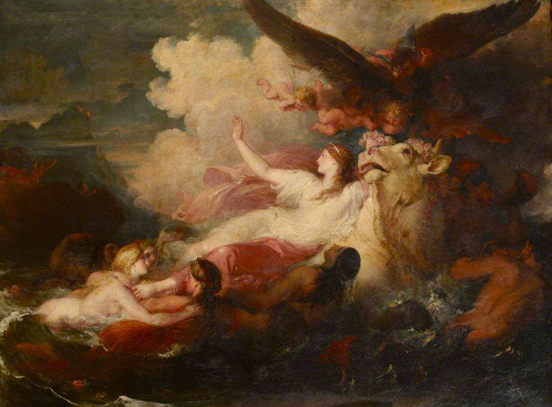 An image of 'The Rape of Europa' by William Hilton.
