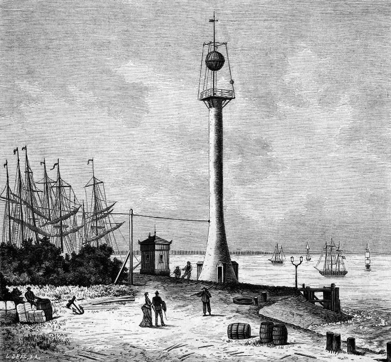 Zeitball in Bremerhaven - Rudolf Stieler um 1876, Quelle: WikiCommons