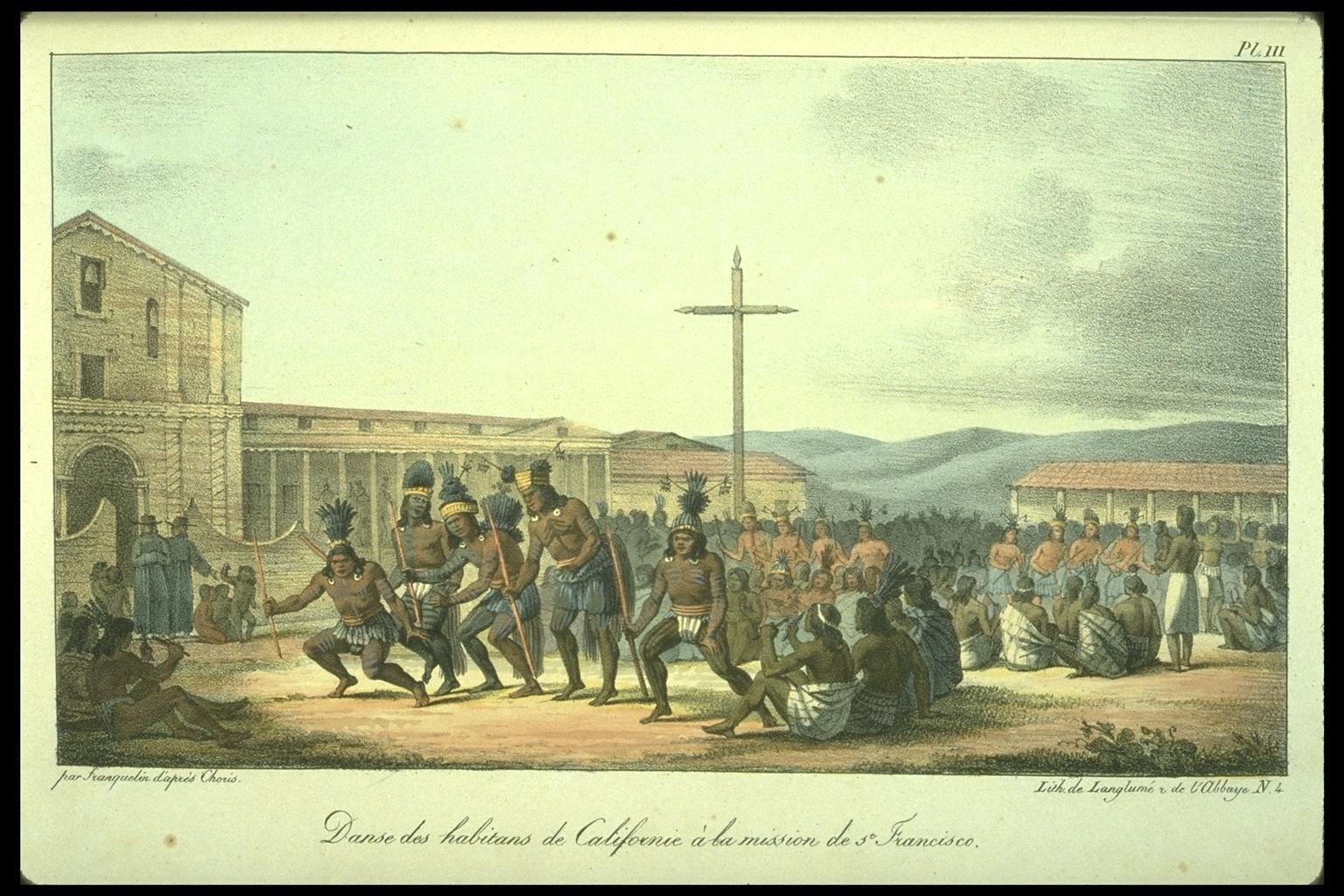 Danza de los californianos, frente a la Misión de San Francisco de Asís (Misión Dolores), en un dibujo de Louis Choris (1815).
