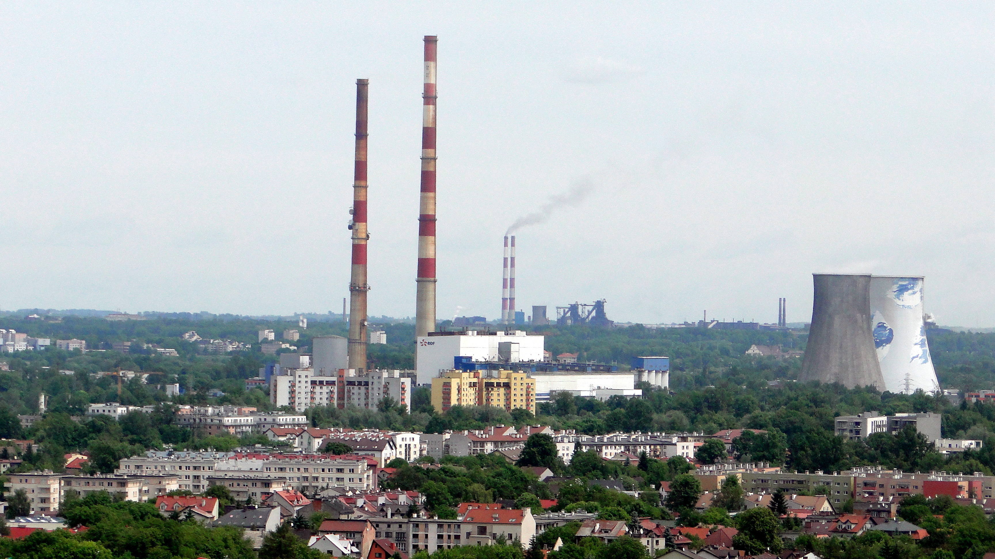 File Łęg Cogeneration and power plant from Kopiec Krakusa JPG
