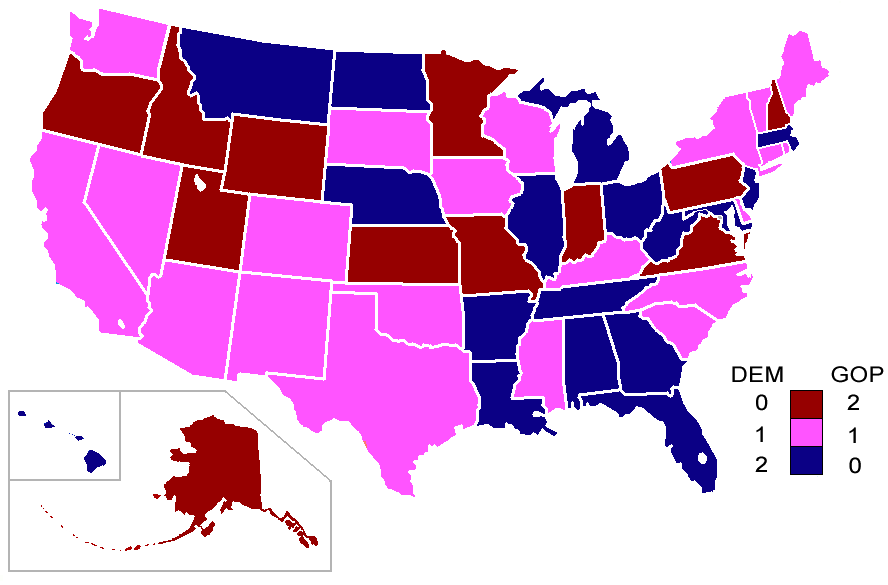 Fileth CongressSenate Mappng Wikimedia Commons - Senate map us