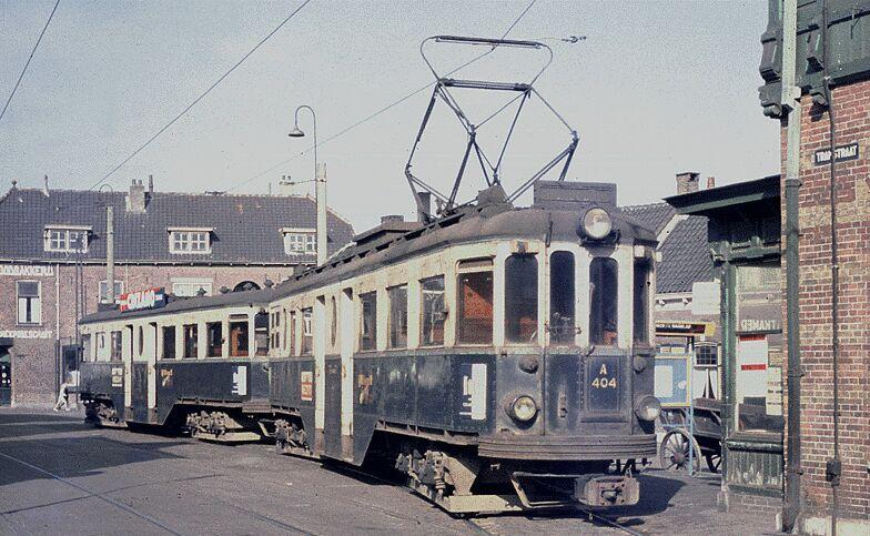NZH-Tram A404 (Boedapester; built by Ganz, Budapest, Hungary in 1924) + B400 at the Tramstraat in Katwijk, circa 1960. Taken from Dutch Wikipedia.