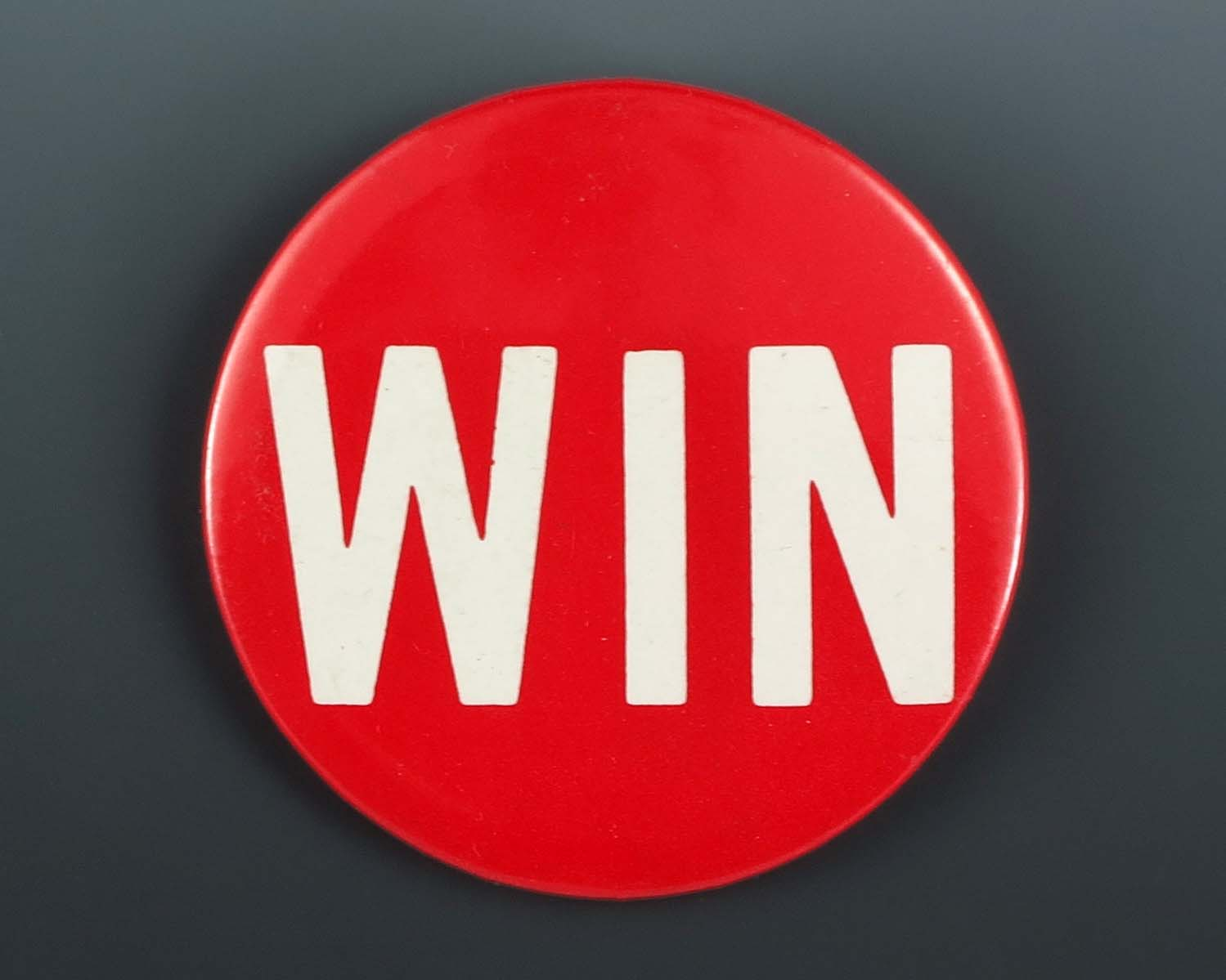 File A Red And White Quot Win Quot Button From President Gerald R