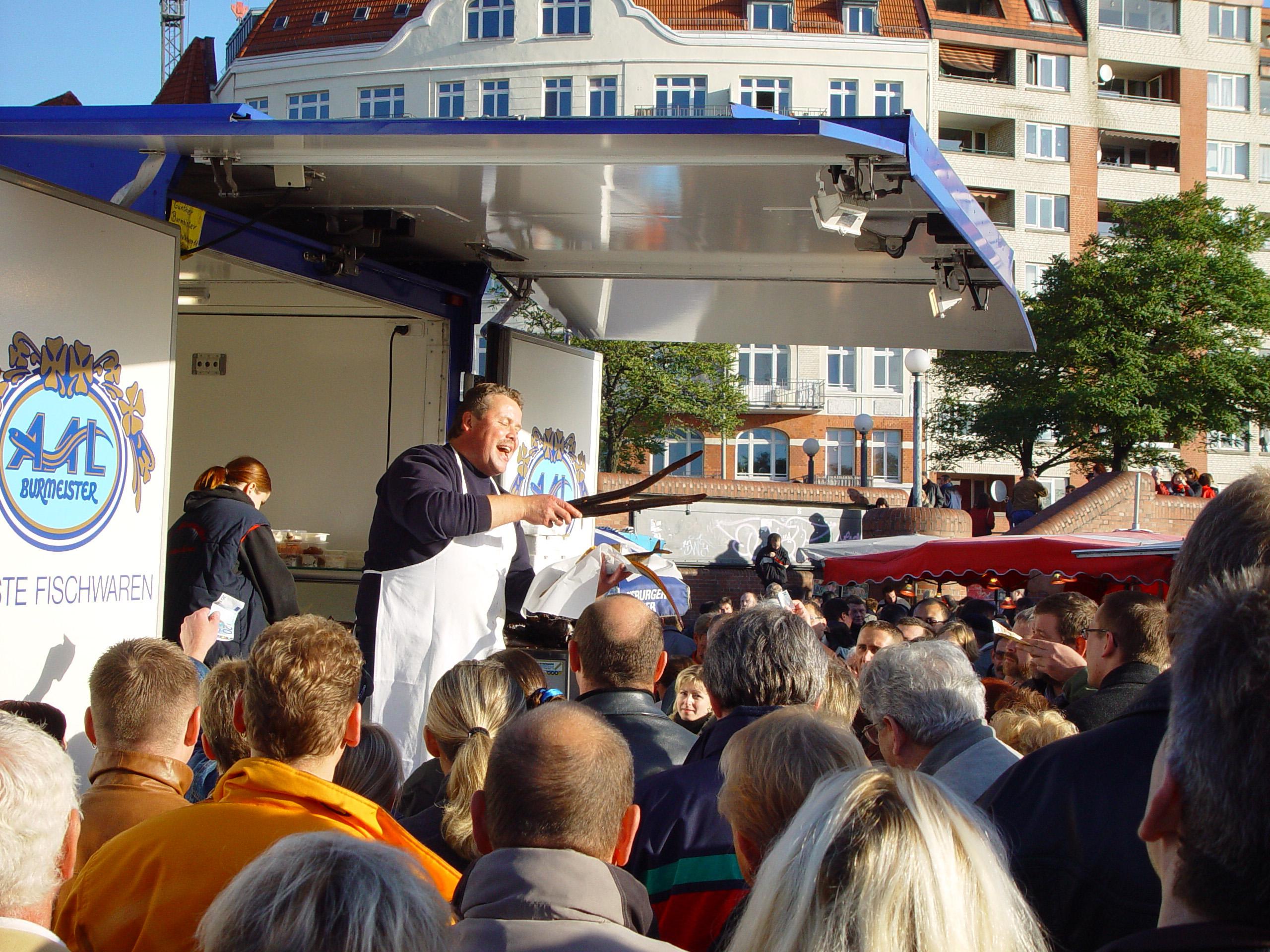 ein ''Marktschreier'' in Hamburg