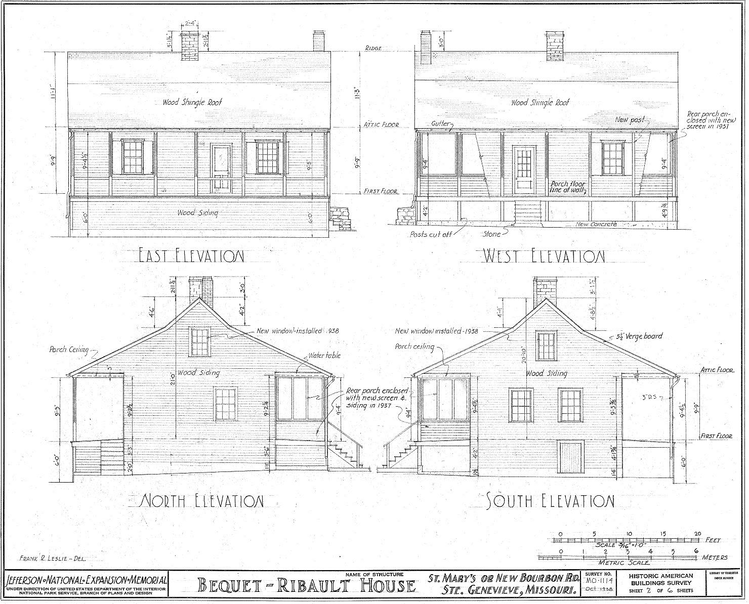 Historic Home Elevation : File bequet ribault house elevations ste genevieve mo g