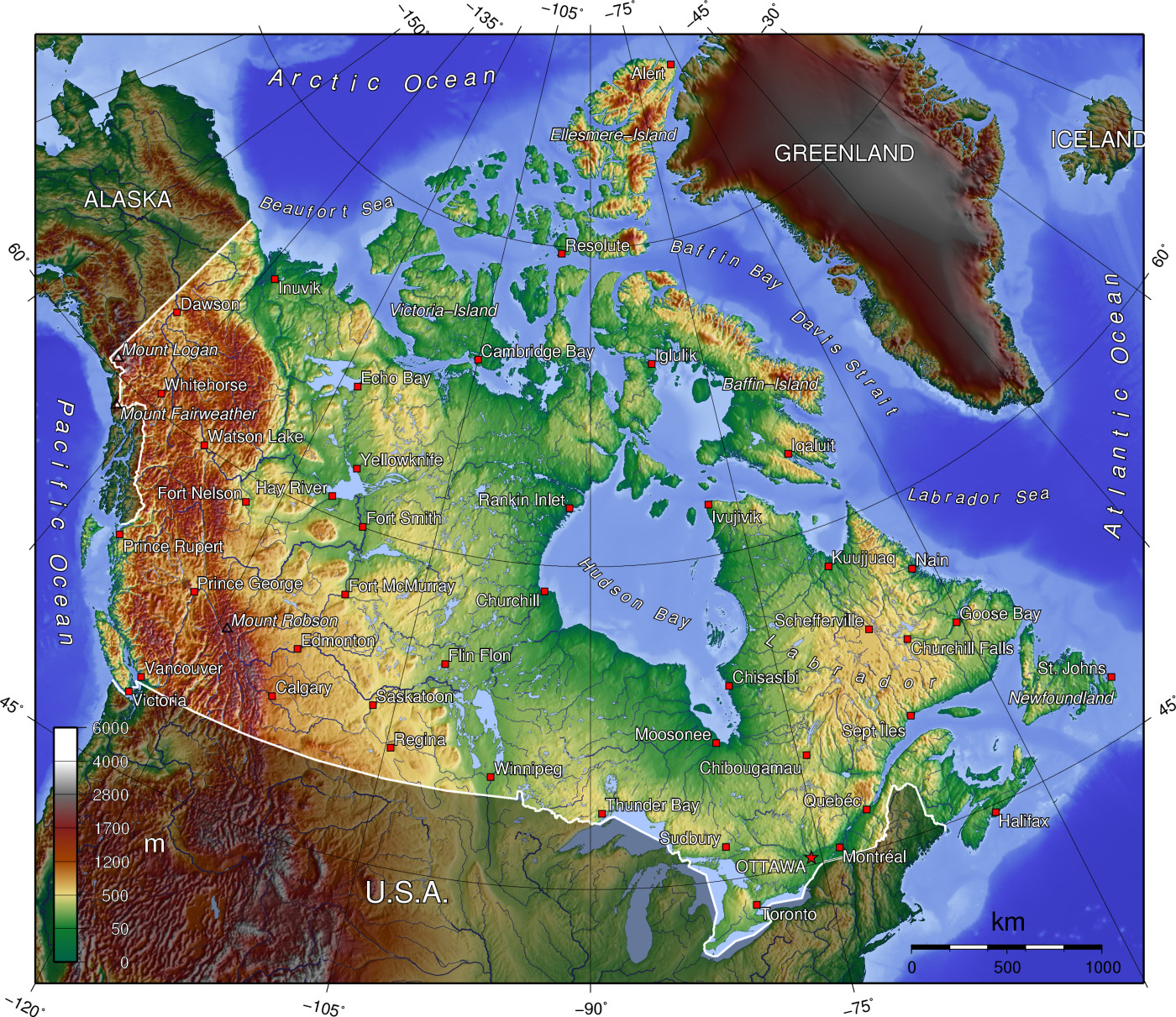 Physical Map Of Canada Elevation Key Geography of Canada   Wikipedia