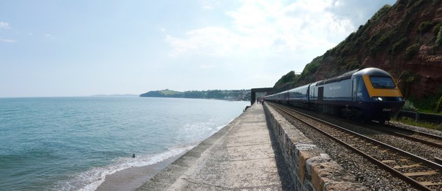 Dawlish , Coastal Path, Railway and First Great Western Train - geograph.org.uk - 1345862