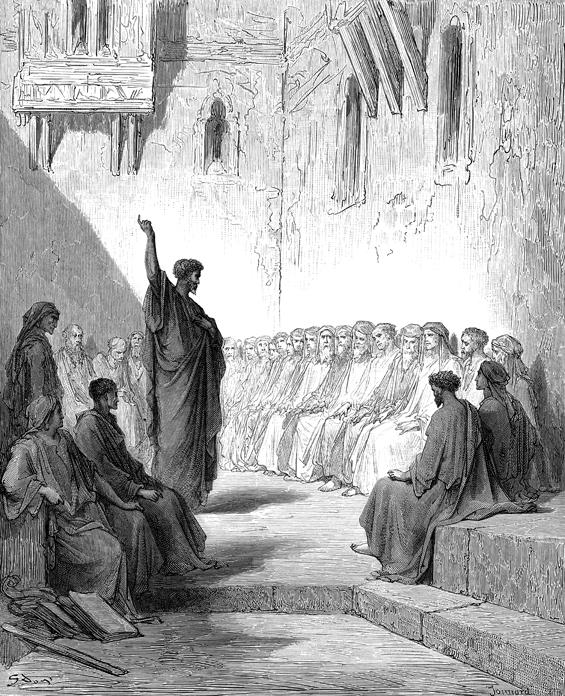 데살로니가 교인에게 설교하는 바울 (귀스타브 도레, Gustave Dore, 1866년)