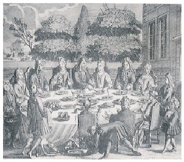 Drawing of a meal prepared by François Vatel for the Prince of Condé