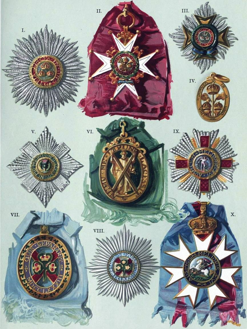 EB1911 - Knighthood - Plate II. - Orders of the Bath; Thistle; St. Patrick; St. Michael and St. George.jpg