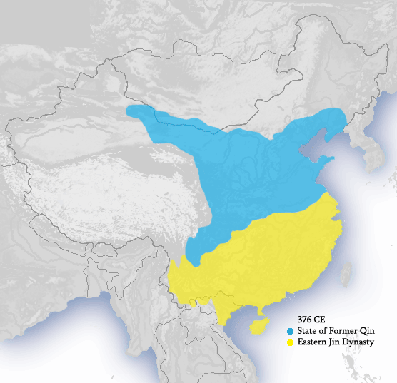 304-439 Five Barbaric states and 16 countries (Tibettans, and Altaic people) (the blue part (Former Qin) was by Tibettan family, The yellow part (East Jin) was by Xianbei)