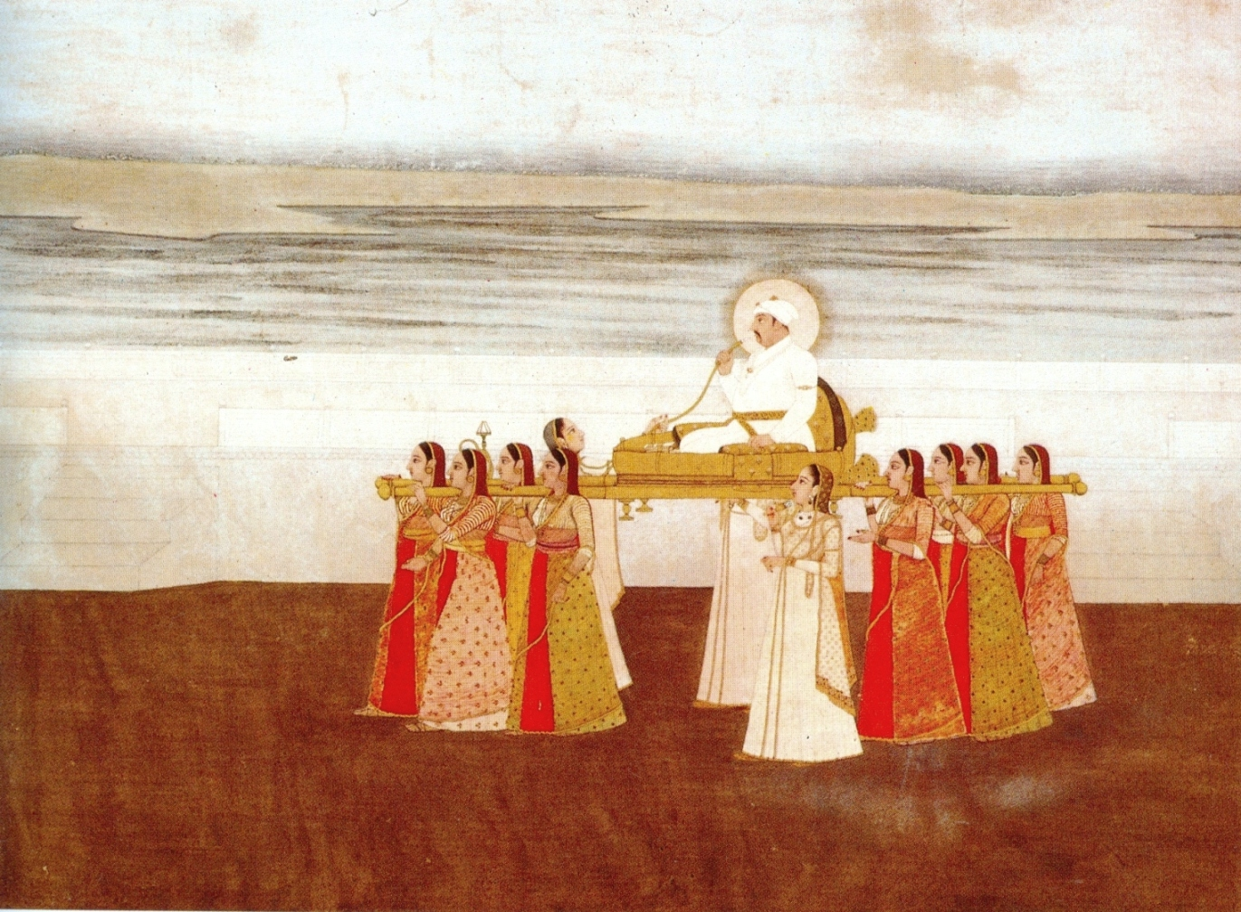 Emperor Muhammad Shah carried in a palanquin by women, circa 1735, collection Kasturbhai Lalbhai, Ahmedabad. Photo credit: Wikimedia Commons [Public Domain].