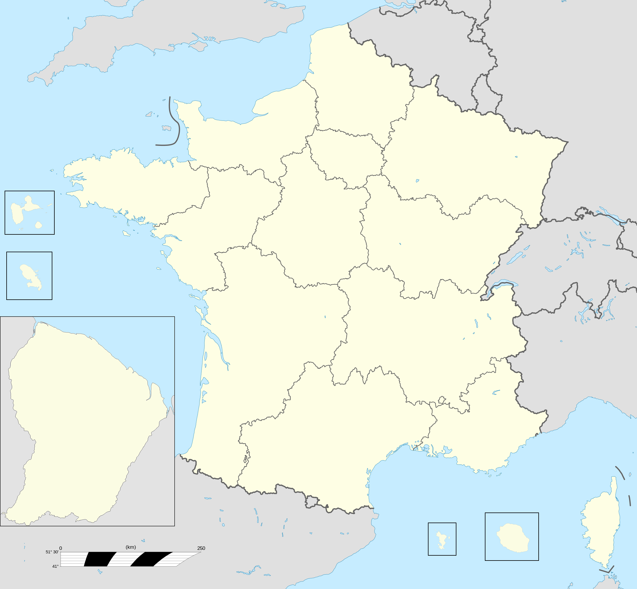 TemplateFrance Regions Labelled Map Wikipedia - Map of the united states with regions printable