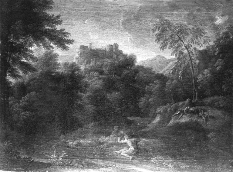 Klassische Landschaft mit vier ruhenden Figuren (Umkreis)