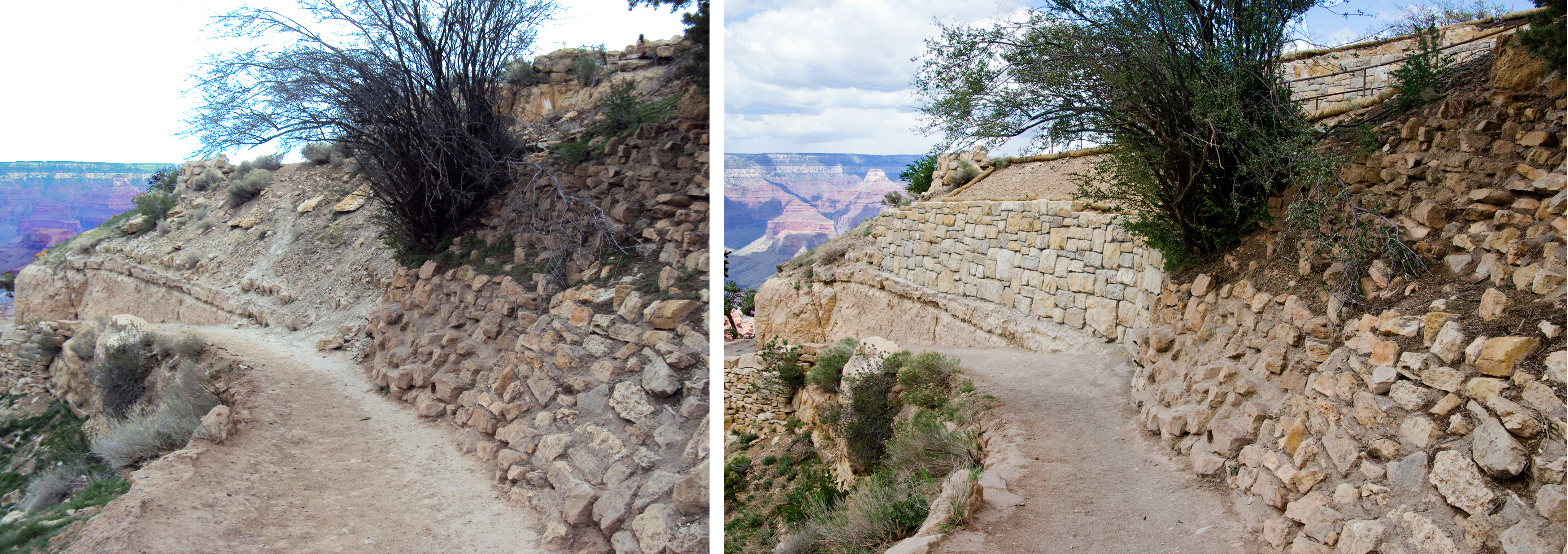 Grand Canyon N.P, Bright Angel Trailhead Renovation - Retaining Wall. - Flickr - Grand Canyon NPS.jpg Before and after photos showing the recently